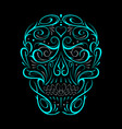 abstract skull shape turquoise pattern vector image vector image