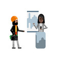 african woman doing business presentation vector image vector image
