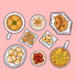 arab sweets top view arabian ramadan cuisinefood vector image