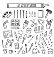 Art tools sketch hand drawn set desing vector image vector image