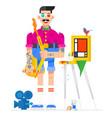 artist designer in cartoon style artist in the vector image
