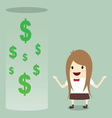 businesswoman happy get money bonus from bank vector image vector image