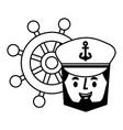 captain sailor face cartoon ship helm vector image