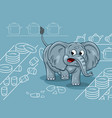cartoon of a clumsy elephant in a china shop vector image vector image