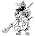 chinese warrior 2 line art vector image vector image