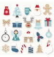 Christmas and new year festive stickers set vector image