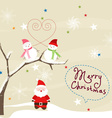 Christmas Card with Santa Claus and snowmans vector image vector image