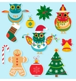 Christmas icons flat color design New year vector image vector image