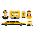 city road yellow taxi transport vector image