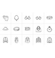 clothing and accessory sketch icon set vector image vector image