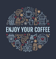 coffee making poster template brewing line vector image vector image