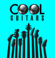 cool guitars graphic with lots of guitar necks vector image