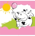Cow With Pink Balloon vector image