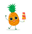 cute pineapple cartoon character in sunglasses vector image vector image