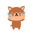 cute sad cry unhappy dog character vector image vector image