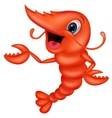 Cute shrimp cartoon presenting vector image vector image