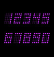 digital table neon font with grid led nubmers vector image vector image