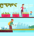 eco volunteering cartoon banners vector image