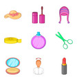 female person icons set cartoon style vector image vector image