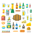 flat design beer items set vector image vector image