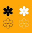 flower set black and white icon vector image vector image