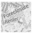 Foreclosures and the Impact on Renters Word Cloud vector image vector image