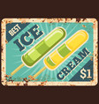 fruit ice pop juice ice cream rusty metal plate vector image vector image