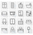 furniture icons set flat with long shadow on grey vector image vector image