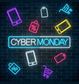 glowing neon sign of cyber monday sale in vector image