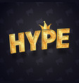 gold hype text isolated logo with joker vector image vector image