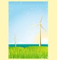 grunge windmills in the ocean vector image