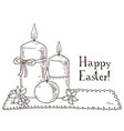 hand drawn black and white easter gift card with vector image vector image