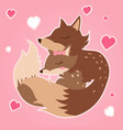 happy valentines day with fox in love valentines vector image