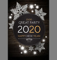 hapy new 2020 year poster template with shining vector image