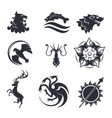 heraldic gothic animals and birds or fish vector image