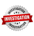 investigation round isolated silver badge vector image vector image