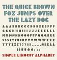 lino-cut simple alphabet stencil shape three vector image