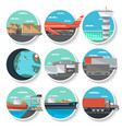 logistics and worldwide shipping round badge set vector image vector image