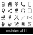 mobile icon set 1 gray icons on white background vector image vector image