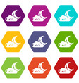 moon and cloud icons set 9 vector image vector image