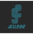 music key logo neon line blue icon vector image