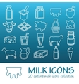 outline milk icons vector image vector image