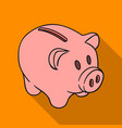 piggy bank icon in flat style isolated on white vector image