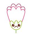 pink flower kawaii cartoon decoration vector image