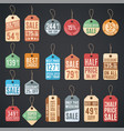 price tags and sale labels with thread vector image vector image