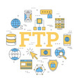 round linear concept of ftp vector image