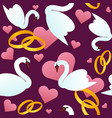 seamless pattern with swans wedding rings and vector image
