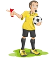 Soccer referee whistles and shows red card vector image