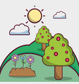summer weather with clouds and natural trees vector image