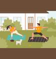summer yoga practice outdoor flat vector image vector image